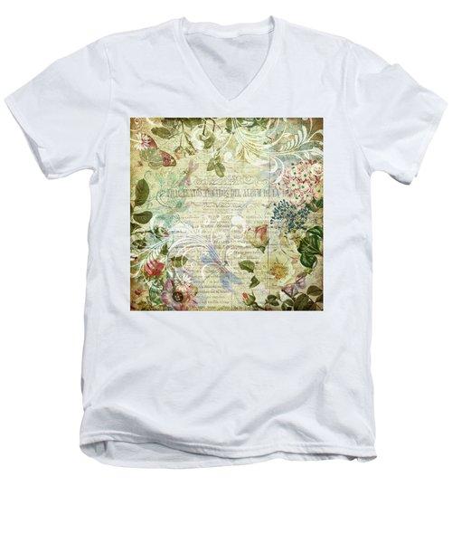 Vintage Botanical Illustration Collage Men's V-Neck T-Shirt