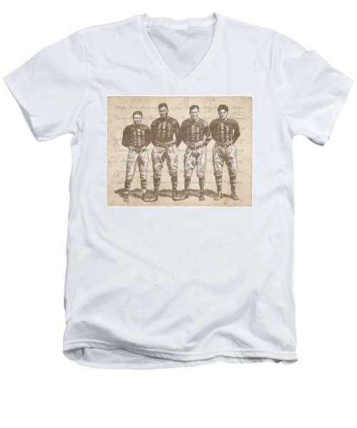 Vintage Football Heroes Men's V-Neck T-Shirt