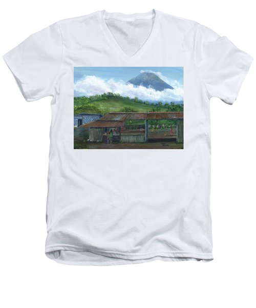 Volcano Agua, Guatemala, With Fruit Stand Men's V-Neck T-Shirt