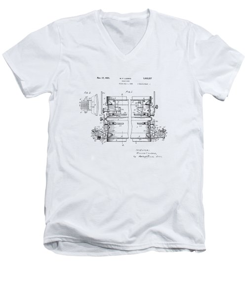 W F Ludwig Snare Drum Patent Men's V-Neck T-Shirt