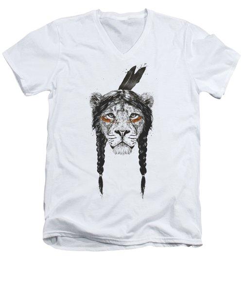 Warrior Lion Men's V-Neck T-Shirt
