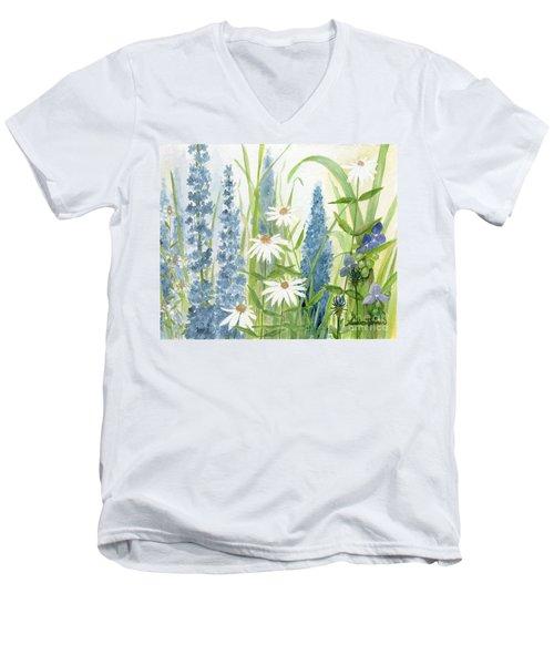 Watercolor Blue Flowers Men's V-Neck T-Shirt