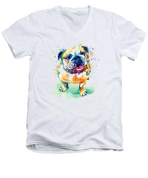 Watercolor Bulldog Men's V-Neck T-Shirt