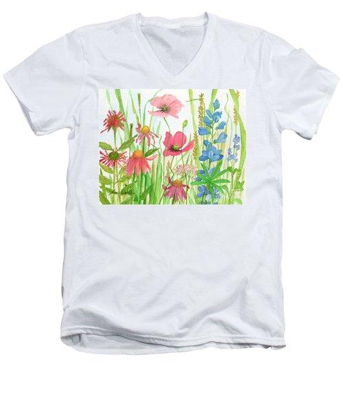 Watercolor Touch Of Blue Flowers Men's V-Neck T-Shirt