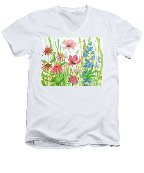 Watercolor Touch Of Blue Flowers Men's V-Neck T-Shirt