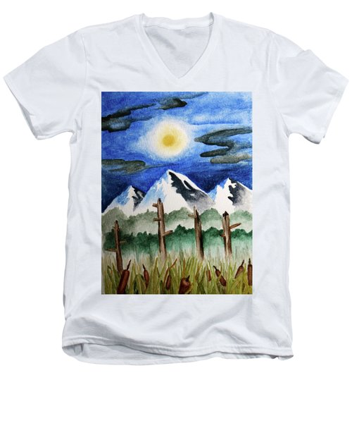 Wetlands With Mountains  Men's V-Neck T-Shirt