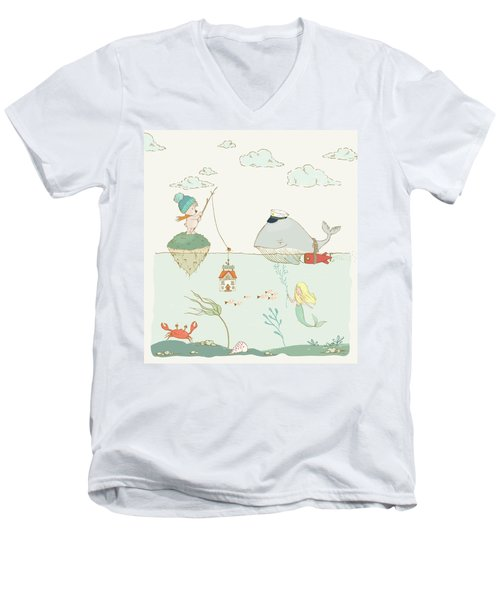 Men's V-Neck T-Shirt featuring the painting Whale And Bear In The Ocean Whimsical Art For Kids by Matthias Hauser
