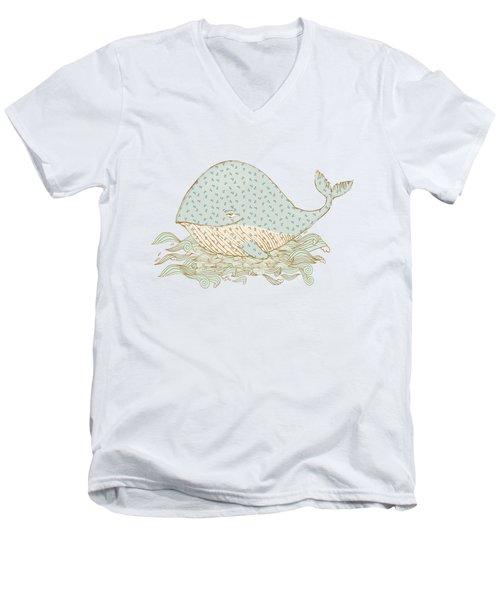 Whimsical Whale Men's V-Neck T-Shirt