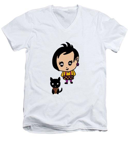 Whimsy Girl And Dog In Tartan Men's V-Neck T-Shirt