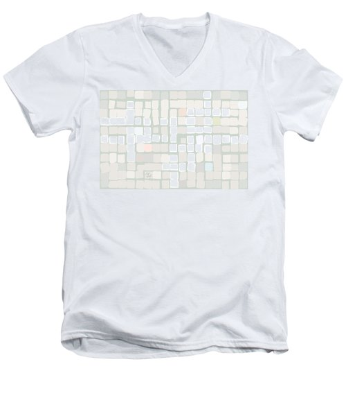Men's V-Neck T-Shirt featuring the digital art White by Attila Meszlenyi