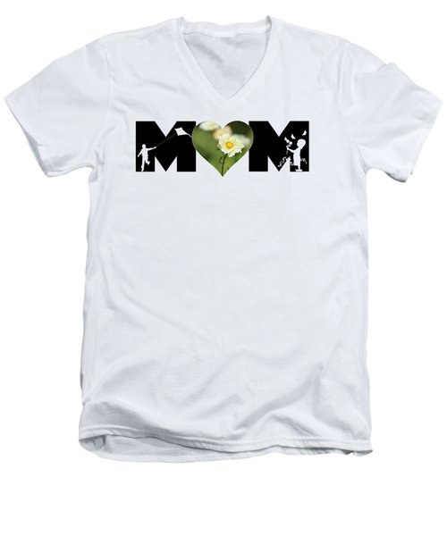 White Cosmos In Heart With Little Girl And Boy Mom Big Letter Men's V-Neck T-Shirt