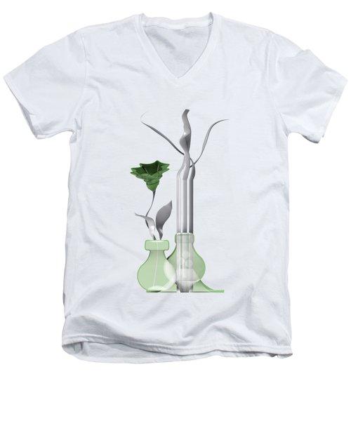 White Soft Stil Life With One Flower. Men's V-Neck T-Shirt