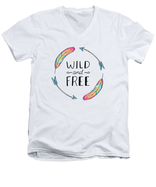 Wild And Free Colorful Feathers - Boho Chic Ethnic Nursery Art Poster Print Men's V-Neck T-Shirt