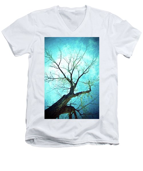 Men's V-Neck T-Shirt featuring the photograph Winter Tree Blue  by James BO Insogna