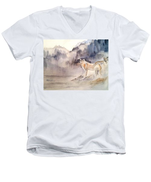 Wolves On Guard Men's V-Neck T-Shirt