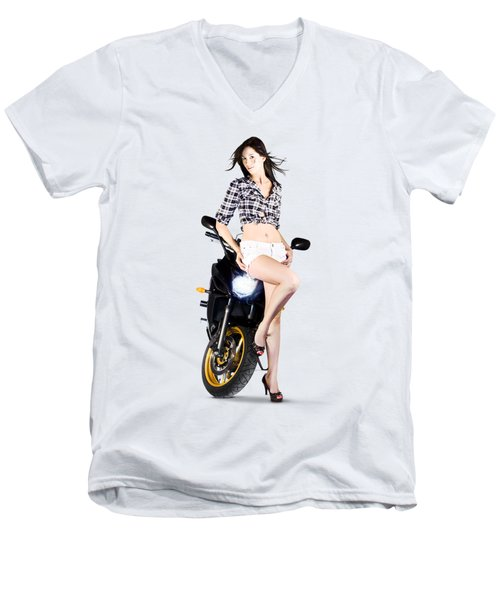 Woman Leaning On A Motorbike Men's V-Neck T-Shirt