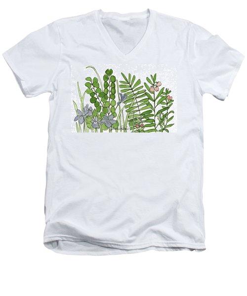 Woodland Ferns Violets Nature Illustration Men's V-Neck T-Shirt