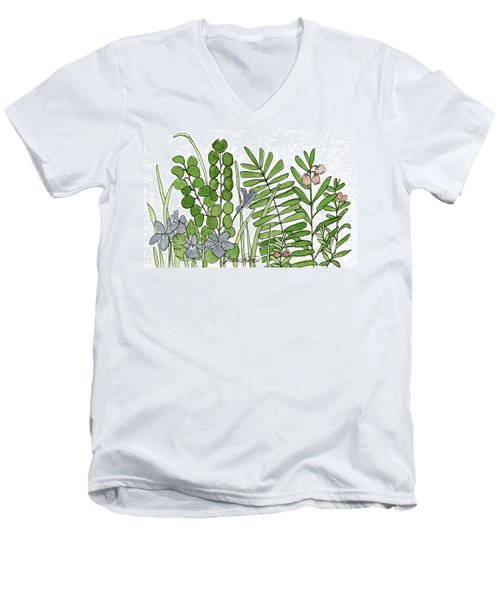 Woodland Ferns Violets Nature Illustration Men's V-Neck T-Shirt