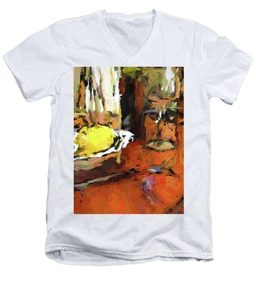 Yellow Lemon And The Wine Glass Men's V-Neck T-Shirt