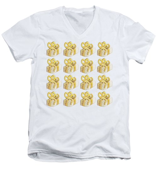 Yellow Presents Pattern Men's V-Neck T-Shirt