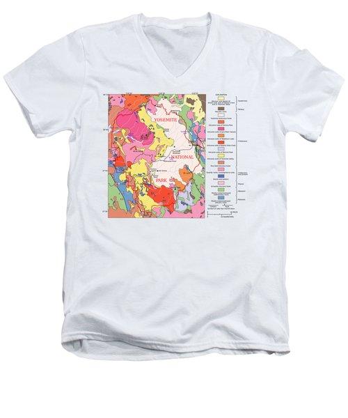 Yosemite National Park Contemporary Geological Map Men's V-Neck T-Shirt