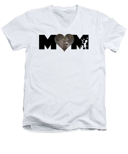Young Doe In Heart With Little Girl Mom Big Letter Men's V-Neck T-Shirt