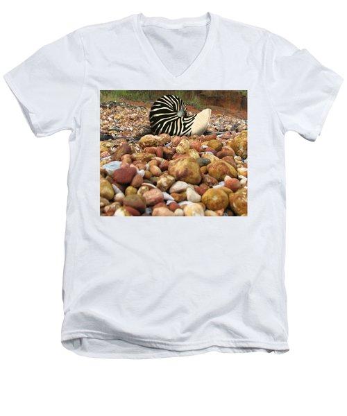 Zebra Nautilus Shell On Bauxite Beach Men's V-Neck T-Shirt