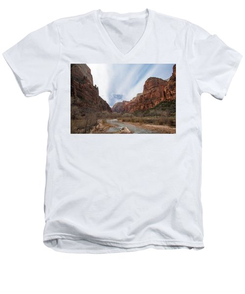 Zion National Park And Virgin River Men's V-Neck T-Shirt