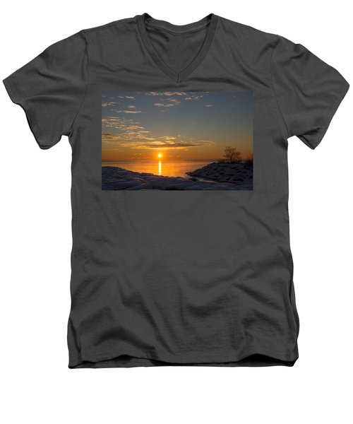 Men's V-Neck T-Shirt featuring the photograph -15 Degrees Sunrise by Georgia Mizuleva