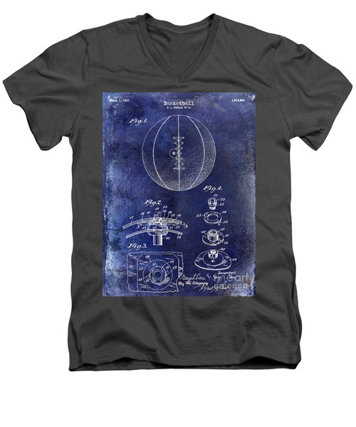 1927 Basketball Patent Drawing Blue Men's V-Neck T-Shirt