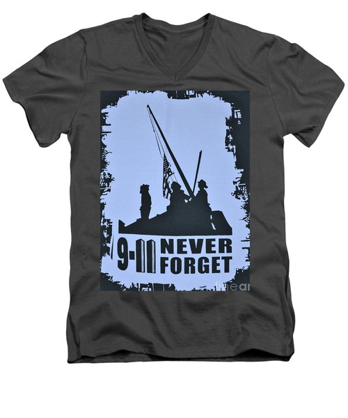 Men's V-Neck T-Shirt featuring the photograph  911 Poster In Black And White by Bob Sample