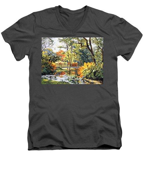 Autumn Water Bridge Men's V-Neck T-Shirt