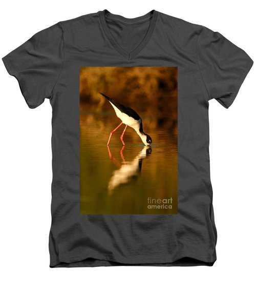Men's V-Neck T-Shirt featuring the photograph  Black-necked Stilt Reflection by John F Tsumas