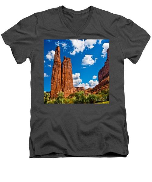Canyon De Chelly Spider Rock Men's V-Neck T-Shirt by Bob and Nadine Johnston