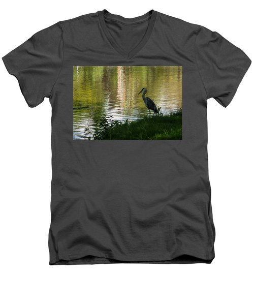 Men's V-Neck T-Shirt featuring the photograph Contemplating Impressionist Paintings by Georgia Mizuleva