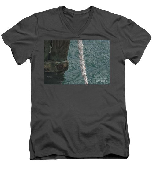 Dock Rope And Wood Men's V-Neck T-Shirt by Loriannah Hespe
