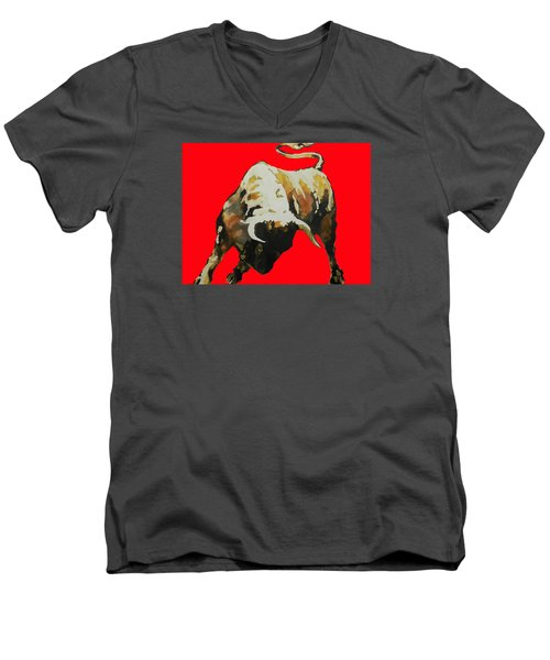 Fight Bull In Red Men's V-Neck T-Shirt by J- J- Espinoza