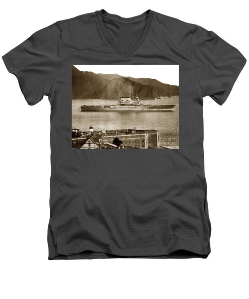 U.s.s. Lexington Cv-2 Fort Point Golden Gate San Francisco Bay California 1928 Men's V-Neck T-Shirt by California Views Mr Pat Hathaway Archives