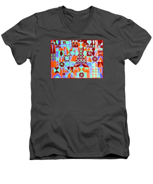 Men's V-Neck T-Shirt featuring the painting  Fortress by Beth Saffer