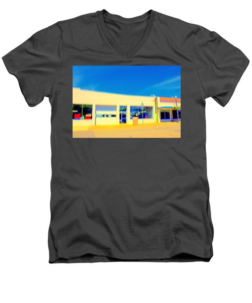 Men's V-Neck T-Shirt featuring the mixed media   Hopper Garage by Terence Morrissey