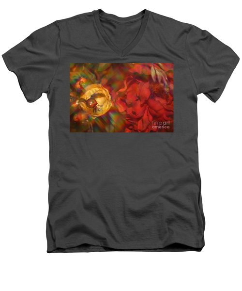 Men's V-Neck T-Shirt featuring the photograph  Impressionistic Bouquet Of Red Flowers by Dora Sofia Caputo Photographic Art and Design