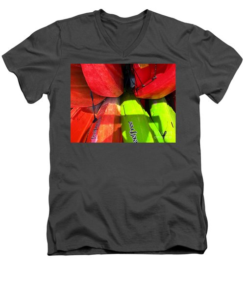 Kayaks Men's V-Neck T-Shirt by Michelle Meenawong