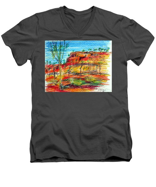 Men's V-Neck T-Shirt featuring the painting  Kimberly Bold Cliffs Australia Nt by Roberto Gagliardi