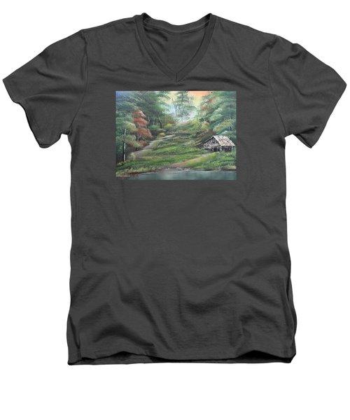Light Down The River Men's V-Neck T-Shirt by Remegio Onia