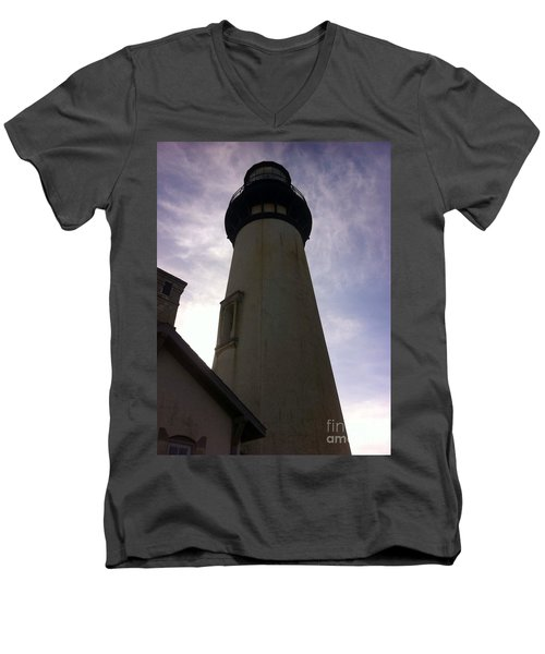 Men's V-Neck T-Shirt featuring the photograph  Light House Sky by Susan Garren