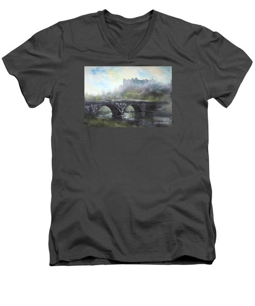 Men's V-Neck T-Shirt featuring the painting  Ludlow Castle In A Mist by Jean Walker