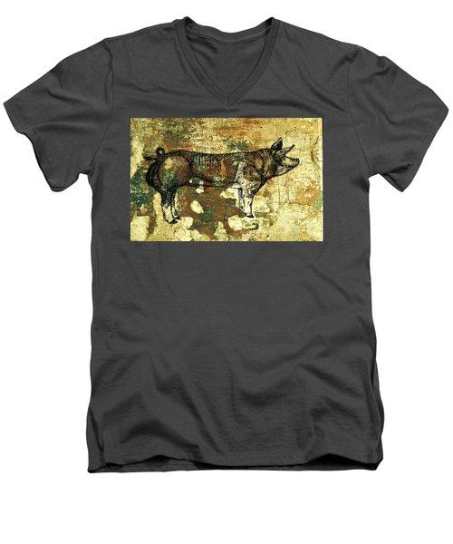 German Pietrain Boar 27 Men's V-Neck T-Shirt by Larry Campbell