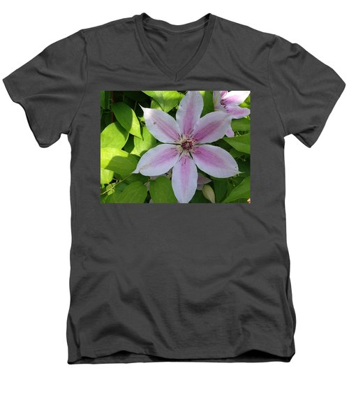 Pink Clematis  Men's V-Neck T-Shirt