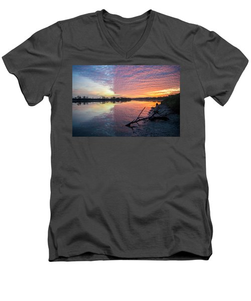 River Glows At Sunrise Men's V-Neck T-Shirt
