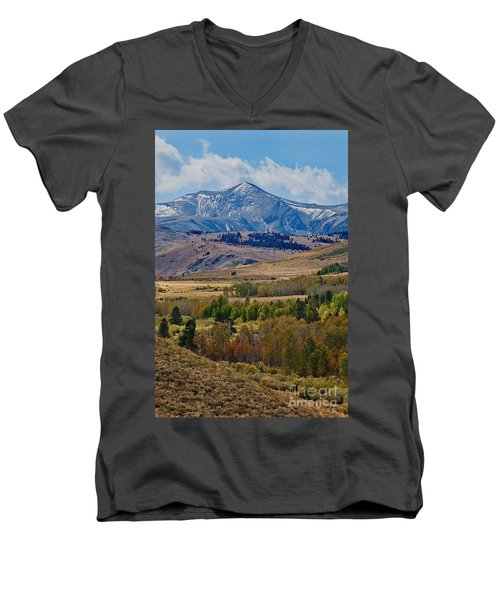 Men's V-Neck T-Shirt featuring the photograph  Sierras Mountains by Mae Wertz